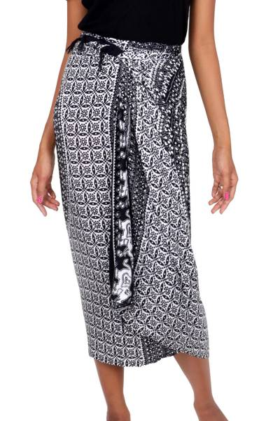 Printed Grey Elephant Sarong from Indonesia
