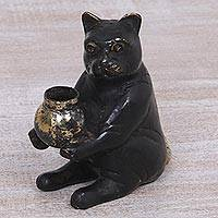Bronze sculpture, 'Cat Offering' - Bronze Sculpture of a Cat with Bowl from Indonesia