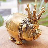 Bronze sculpture, 'King of Pigs' - Bronze Sculpture of a Pig with Crown from Indonesia