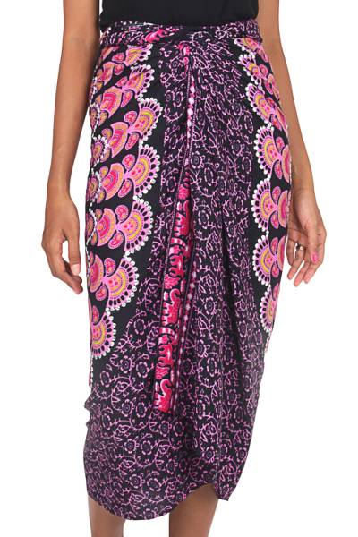 Batik Rayon Sarong in Bubblegum Pink from Indonesia