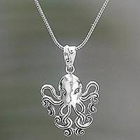 Sterling silver pendant necklace, 'Octopus of the Deep' - Sterling Silver Pendant Necklace of an Octopus