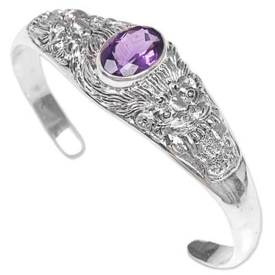 Sterling Silver Amethyst Cuff Bracelet Wild Cat Indonesia