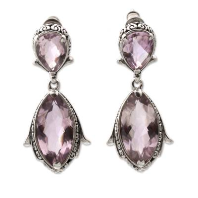 Faceted Amethyst and Silver Dangle Earrings from Bali