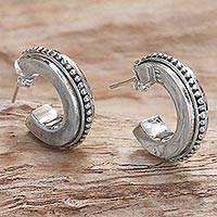 Sterling silver half-hoop earrings, 'Dotted Horseshoes' (Indonesia)