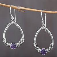 Amethyst dangle earrings, 'Purple Karma Rings' - Amethyst and Sterling Silver Dangle Earrings from Indonesia