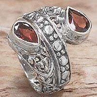 Garnet cocktail ring, 'Red Udeng' - Garnet and Sterling Silver Cocktail Ring from Indonesia