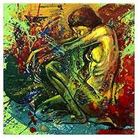 'She Is Mine' - Multi Color Artistic Nude Signed Painting by Javanese Artist