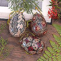 Batik wood ornaments, 'Kawung Eggs' (set of 3) - Hand Made Batik Wood Ornaments (Set of 3) from Indonesia