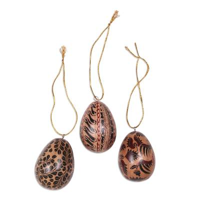 Batik Wood Egg Ornaments (Set of 3) from Indonesia