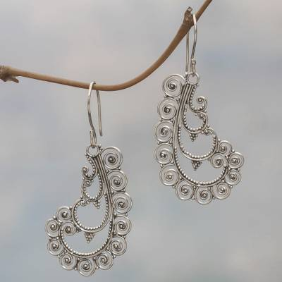Sterling silver dangle earrings, 'Spiral Fantasy' - Sterling Silver Dangle Earrings Spiral Shape from Indonesia