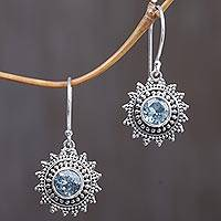 Blue topaz dangle earrings, 'Blue Sunshine' - Hand Crafted Blue Topaz Sterling Silver Dangle Earrings