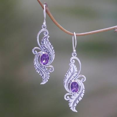 Amethyst dangle earrings, 'Morning Garden' - Amethyst Sterling Silver Dangle Earrings from Indonesia