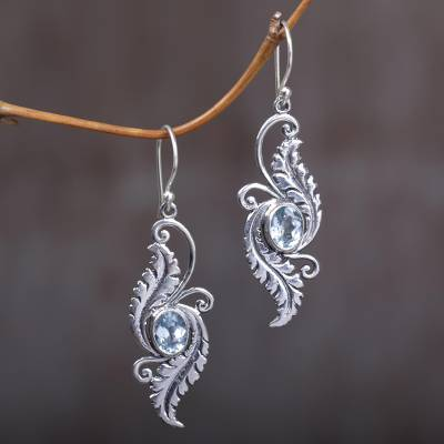 Blue topaz dangle earrings, Morning Garden