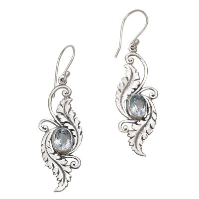 Blue Topaz Sterling Silver Dangle Earrings from Indonesia