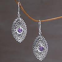 Amethyst dangle earrings, 'Wonderful Bali in Purple' - Indonesian Sterling Silver and Amethyst Dangle Earrings
