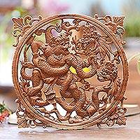 Wood relief panel, 'Hanoman Battle' - Suar Wood Relief Wall Panel Hanoman and Dragon Battle