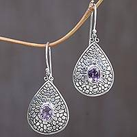 Amethyst dangle earrings, 'Purple Pebbles' - Sterling Silver Purple Amethyst Dangle Earrings