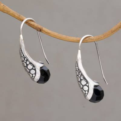 Onyx drop earrings, 'Midnight Spell' - Handcrafted Sterling Silver Onyx Drop Earrings Indonesia