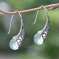 Aventurine drop earrings, 'Green Love' - Hand Crafted Aventurine and Sterling Silver Drop Earrings