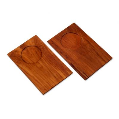 Hand Made Light Brown Wood Trays from Indonesia (Pair)
