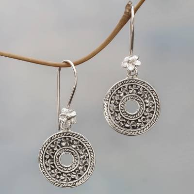 Sterling silver dangle earrings, 'Jepun Coins' - Hand Made Sterling Silver Dangle Earrings Floral Indonesia