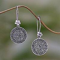 Sterling silver dangle earrings, 'Sacred Petals' - Floral Circular Sterling Silver Dangle Earrings Indonesia