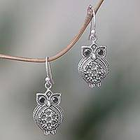 Onyx dangle earrings, 'Ebony Eyes' - Sterling Silver Onyx Owl Dangle Earrings from Indonesia
