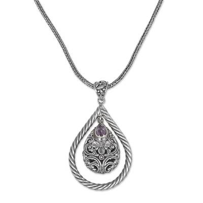 Sterling Silver Amethyst Floral Pendant Necklace Indonesia