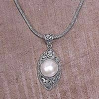 Cultured pearl pendant necklace, 'One Eye Open' - Sterling Silver and Cultured Pearl Pendant Necklace