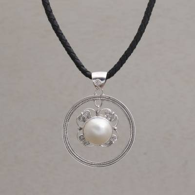 Cultured pearl pendant necklace, 'Hanging Moon' - Cultured Freshwater Pearl Sterling Silver Pendant Necklace