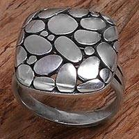 Sterling silver cocktail ring, 'Kapua Stones' - Sterling Silver Cocktail Ring Pebble Motifs Indonesia