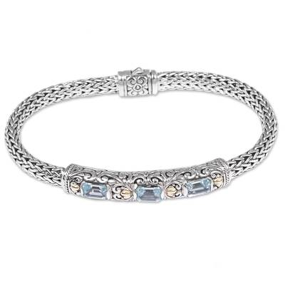 Handcrafted Vermeil Accent Blue Topaz Bracelet from Bali