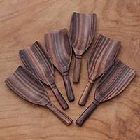 Wood serving spoons, 'Relish' (set of 6) - Set of Six Hand Carved Dark Brown Sono Wood Spoons