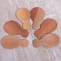 Wood spoons, 'Goldfish' (set of 6) - Set of Six Hand Carved Wood Serving Spoons