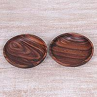 Wood bowls, 'Homestead Meal in Dark Brown' (pair) - Two Hand Made Dark Brown Wood Bowls from Indonesia