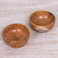 Teakwood condiment bowls, 'Grove Sphere' (pair) - Handcrafted Natural Balinese Teakwood Condiment Bowls (Pair)
