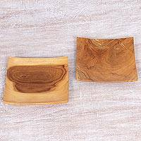 Teakwood appetizer plates, 'Sushi Time' (pair) - Hand Carved Teak Wood Plates (Pair) from Indonesia