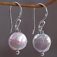 Cultured Pearl Dangle Earrings Solitary Moons (indonesia)