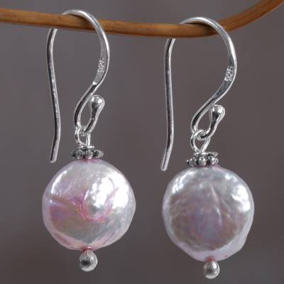 Cultured pearl dangle earrings, 'Solitary Moons' - Hand Made Pink Cultured Pearl Dangle Earrings from Indonesia