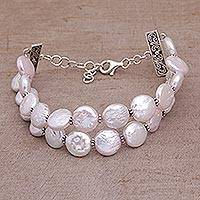 Cultured pearl bracelet, 'Lunar Tranquility' - Handmade Cultured Biwa Pearl Bracelet from Indonesia