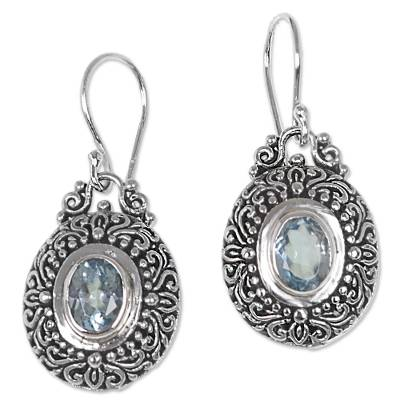 Blue Topaz and Sterling Silver Indonesian Dangle Earrings