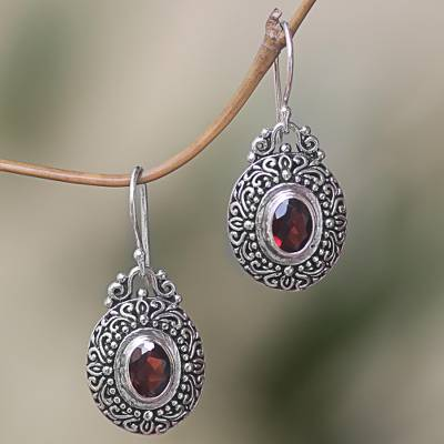 Garnet dangle earrings, 'Crimson Fables' - Sterling Silver Garnet Dangle Earrings Spiral Indonesia