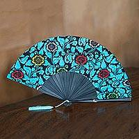 Cotton and mahogany fan, 'Cerulean Nirvana' - Cotton and Wood Floral Fan in Cerulean from Indonesia