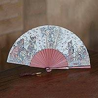 Silk and mahogany wood fan,