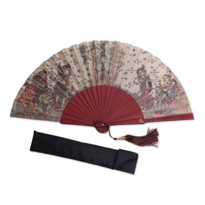 Silk and Wood Fan with Hindu Motifs in Wheat and Crimson