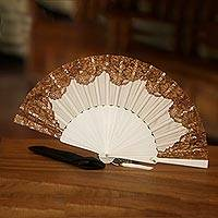 Silk and cotton blend mahogany wood fan,