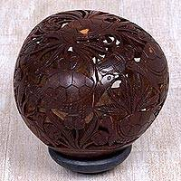 Coconut shell sculpture, 'Turtle Cove' - Hand Carved Coconut Shell Sculpture with Wood Base