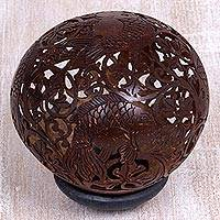 Coconut shell sculpture, 'Playful Fish' - Hand Carved Coconut Shell Sculpture with Wood Base