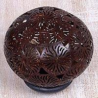 Coconut shell sculpture, 'Dynamic Suns' - Artisan Crafted Coconut Shell Sculpture with Wood Base