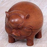 Wood statuette, 'Round Piglet' - Artisan Crafted Suar Wood Statuette of Piglet from Bali